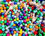BALL PLAY<br /> Social Bloggers, James Kavanagh and James Patrice fool around in a sea of plastic balls during an event held in Merrion Square Dublin.