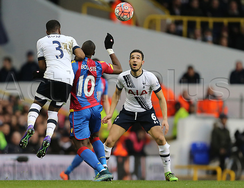 21.02.2016. White Hart Lane, London, England. Emirates FA Cup 5th Round. Tottenham Hotspur versus Crystal Palace. Yannick Bolasie holds off Danny Rose as Nabil Bentaleb eyes the ball