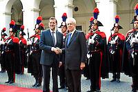 Il primo Ministro Spagnolo Mariano Rajoy incontra Mario Monti a Palazzo Chigi..Spanish Prime Minister Mariano Rajoy meets with Italian premier Mario Monti