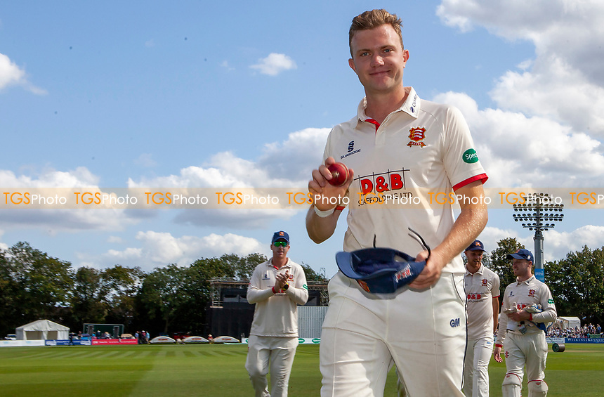 Sam Cook of Essex leaves the field with the ball having taken seven wickets during Kent CCC vs Essex CCC, Specsavers County Championship Division 1 Cricket at the St Lawrence Ground on 20th August 2019