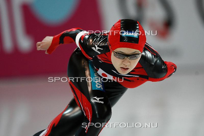 Duitsland, Berlijn, 9 februari 2008 .WK schaatsen allround 2008  .Maki Tabata van Japan in actie op de 3000 meter..