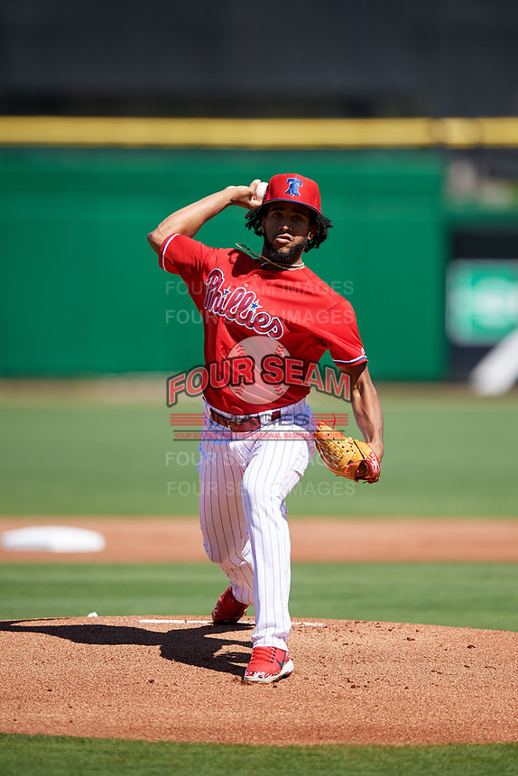 Philadelphia Phillies starting pitcher Adonis Medina (77) delivers a pitch during a Grapefruit League Spring Training game against the Baltimore Orioles on February 28, 2019 at Spectrum Field in Clearwater, Florida.  Orioles tied the Phillies 5-5.  (Mike Janes/Four Seam Images)