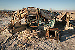 Derelict trailer ruins from the flooding of the Salton Sea