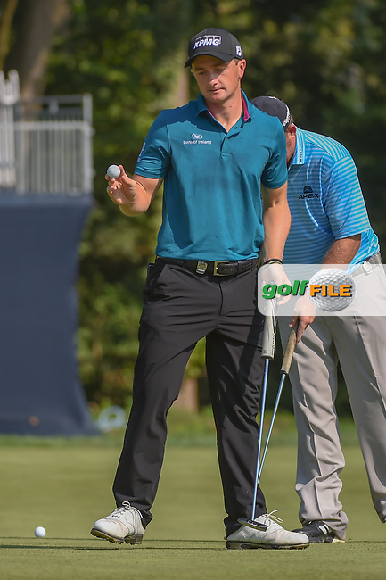 Paul Dunne (IRE) after sinking his putt on 9 during 2nd round of the 100th PGA Championship at Bellerive Country Club, St. Louis, Missouri. 8/11/2018.<br /> Picture: Golffile | Ken Murray<br /> <br /> All photo usage must carry mandatory copyright credit (© Golffile | Ken Murray)
