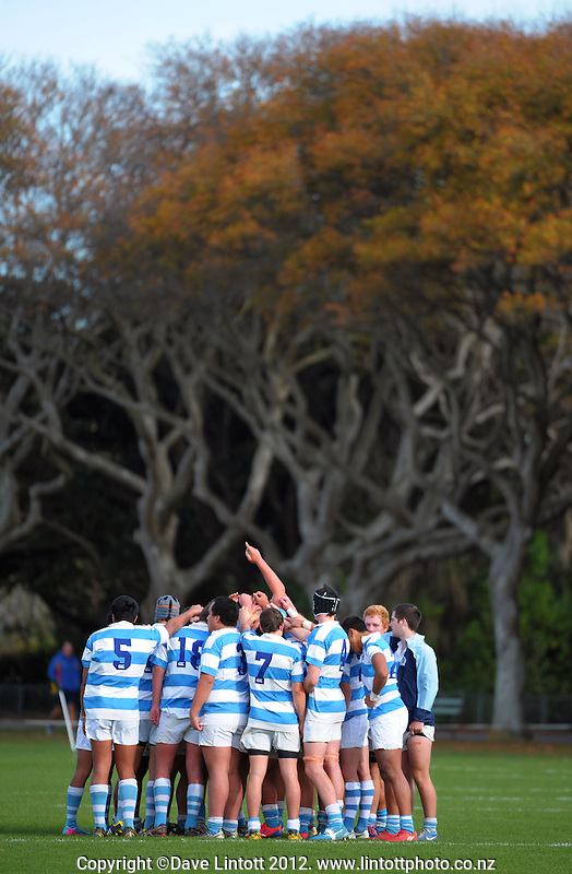 The Silverstream 2nd XV huddle at the end of the Wellington Secondary Schools premier two match between St Patricks' College Silverstream and Hutt Valley High School at Hutt Recreation Ground, Wellington, New Zealand on Sunday, 25 May 2013. Photo: Dave Lintott / lintottphoto.co.nz