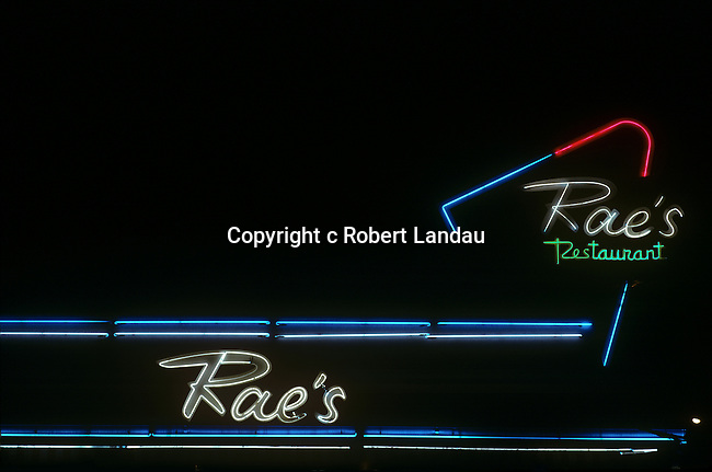 Neon lights at Rae's Coffee Shop in Santa Monica, CA