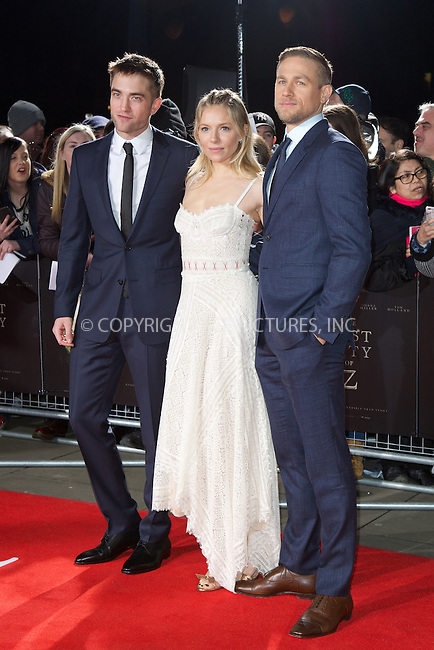 www.acepixs.com<br /> <br /> February 16 2017, London<br /> <br /> (L to R) Robert Pattinson, Sienna Miller and Charlie Hunnam arriving at the UK premiere of 'The Lost City of Z' at The British Museum on February 16, 2017 in London<br /> <br /> By Line: Famous/ACE Pictures<br /> <br /> <br /> ACE Pictures Inc<br /> Tel: 6467670430<br /> Email: info@acepixs.com<br /> www.acepixs.com
