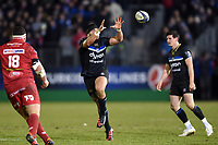 Lucas Noguera Paz of Bath Rugby  receives the ball. European Rugby Champions Cup match, between Bath Rugby and the Scarlets on January 12, 2018 at the Recreation Ground in Bath, England. Photo by: Patrick Khachfe / Onside Images