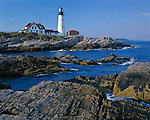 Cumberland County, ME<br /> Portland Head Lighthouse (1791) stands above the rocky coast at Cape Elizabeth on Casco Bay, Maine's oldest lighthouse
