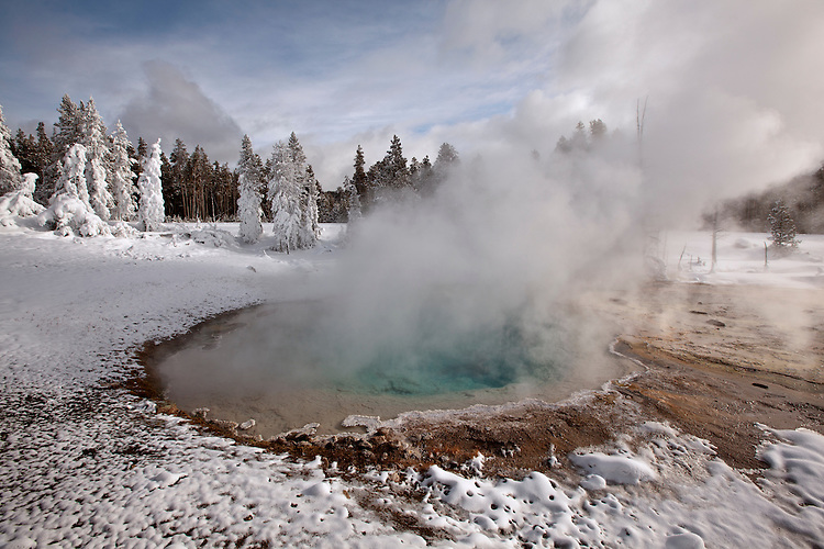 Steam rises from Silex Spring in the Fountain Paint Pot Nature Trail in winter in Yellowstone National Park, Wyoming, USA