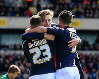 Joe Pigott of Luton Town (centre) celebrates his equalizing goa during the Sky Bet League 2 match between Oxford United and Luton Town at the Kassam Stadium, Oxford, England on 16 April 2016. Photo by Liam Smith.