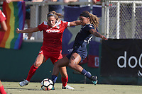 Cary, North Carolina  - Saturday August 19, 2017: Jessica McDonald and Shelina Zadorsky during a regular season National Women's Soccer League (NWSL) match between the North Carolina Courage and the Washington Spirit at Sahlen's Stadium at WakeMed Soccer Park. North Carolina won the game 2-0.