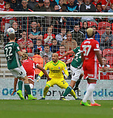 30th September 2017, Riverside Stadium, Middlesbrough, England; EFL Championship football, Middlesbrough versus Brentford; Yoann Barbet of Brentford (29 partially hidden) opens the scoring with a header in the 29th minute in the 2-2 draw