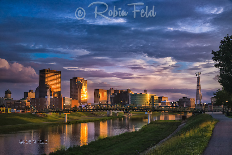 Dayton Ohio skyline at sunset from north walk near Deeds Park
