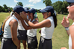 HOUSTON, TX - MAY 12: Members of the George Fox University team hug and celebrate after placing second during the Division III Women's Golf Championship held at Bay Oaks Country Club on May 12, 2017 in Houston, Texas. (Photo by Rudy Gonzalez/NCAA Photos/NCAA Photos via Getty Images)