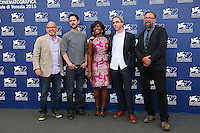 VENICE, ITALY - SEPTEMBER 11: Adam Hohenberg, Jake Mahaffy, Edwina Findley and Michael Bowes and Mike S. Ryan attend ''Free In Deed' photocall during 72nd Venice Film Festival at Palazzo Del Cinema on September 11, 2015 in Venice, Italy.  (Mark Cape/insidefoto)