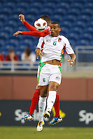 7 June 2011: Guadeloupe midfielder David Fleurival (6) heads the ball during the CONCACAF soccer match between Panama and Guadeloupe at Ford Field Detroit, Michigan.