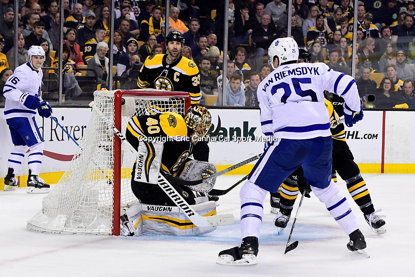 April 21, 2018: Toronto Maple Leafs left wing James van Riemsdyk (25) watches his shot sail over Boston Bruins goaltender Tuukka Rask's (40) shuolder during game five of the first round of the National Hockey League's Eastern Conference Stanley Cup playoffs between the Toronto Maple Leafs and the Boston Bruins held at TD Garden, in Boston, Mass. Toronto defeats Boston 4-3, Boston leads Toronto 3 games to 2 in the best of 7 series.