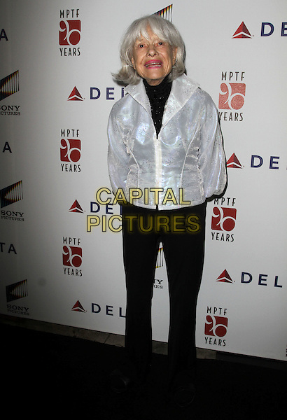 "Carol Channing.The 6th Annual ""A Fine Romance"" Event Held At Sony Pictures Studios, Culver City, California, USA, 15th October 2011..full length white jacket black trousers .CAP/ADM/KB.©Kevan Brooks/AdMedia/Capital Pictures."