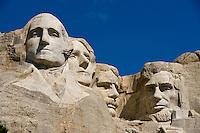 Faces of George Washington, Thomas Jefferson, Theodore Roosevelt and Abraham Lincoln, Mount Rushmore National Memorial, Black Hills, South Dakota USA