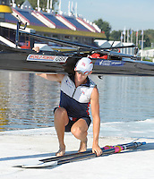 Poznan, POLAND,   GBR LM1X  Adam FREEMAN PASK, returns from his morning training session in preparation for the,2009 FISA World Rowing Championships. held on the Malta Rowing lake, Friday 21/08/2009 [Mandatory Credit. Peter Spurrier/Intersport Images]
