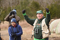 NWA Democrat-Gazette/FLIP PUTTHOFF <br /> Joe Neal (right) of Fayetteville rejoices at seeing a fox sparrow on Feb. 16 2019 during the Great Backyard Bird Count field trip at Devil's Den State Park. Birders tallied several species in the national count. Their results were shared with the count's data base and a bird data base at Devil's Den.