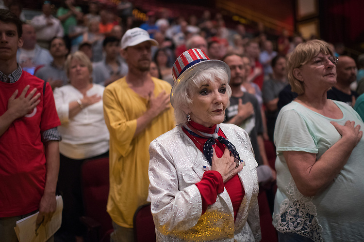UNITED STATES - JULY 5: Marty Merchant, 78, recites the Pledge of Allegiance during a rally for Republican Presidential candidate Donald Trump at the Duke Energy Center in Raleigh, N.C., July 5, 2016. (Photo By Tom Williams/CQ Roll Call)