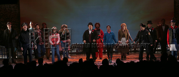 Cast during the Broadway Opening Night Curtain Call Bows for 'Groundhog Day' at August Wilson Theatre on April 17, 2017 in New York City.