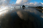 Haystack Rock, Cannon Beach, Oregon, shot with 10.5 mm lens.