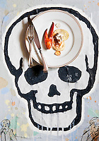 Lobster salad with crisps, chilly gelly and truffle burrata served on a skull painting