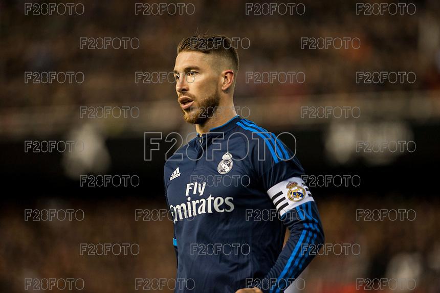 VALENCIA, SPAIN - JANUARY 3: Sergio Ramos during BBVA LEAGUE match between Valencia C.F. and Real Madrid at Mestalla Stadium on January 3, 2015 in Valencia, Spain
