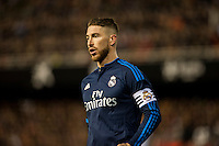 VALENCIA, SPAIN - JANUARY 3: Sergio Ramos during BBVA LEAGUE match between Valencia C.F. and Real Madrid at Mestalla Stadium on January 3, 2015 in Valencia, Spain