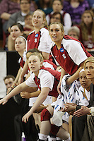 SACRAMENTO, CA - MARCH 27:  Lindy La Rocque, Joslyn Tinkle and the team during Stanford's 73-36 win over Georgia in the third round of the NCAA Women's Basketball Championships on March 27, 2010 at Arco Arena in Sacramento, California.