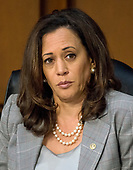 """United States Senator Kamala Harris (Democrat of California) listens as US Attorney General Jeff Sessions gives testimony before the US Senate Select Committee on Intelligence to  """"examine certain intelligence matters relating to the 2016 United States election"""" on Capitol Hill in Washington, DC on Tuesday, June 13, 2017.  In his prepared statement Attorney General Sessions said it was an """"appalling and detestable lie"""" to accuse him of colluding with the Russians.<br /> Credit: Ron Sachs / CNP<br /> (RESTRICTION: NO New York or New Jersey Newspapers or newspapers within a 75 mile radius of New York City)"""