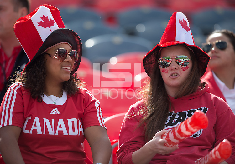 02 June 2013: Canadian fans shows their support during an International Friendly soccer match between the U.S. Women's National Soccer Team and the Canadian Women's National Soccer Team at BMO Field in Toronto, Ontario.<br /> The U.S. Women's National Team Won 3-0.