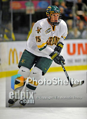 16 November 2008: University of Vermont Catamount defenseman Kevan Miller, a Sophomore from Los Angeles, CA, in action against the visiting Merrimack College Warriors at Gutterson Fieldhouse, in Burlington, Vermont. The Catamounts defeated the Warriors 2-1 in front of a near-capacity crowd of 3,813...Mandatory Photo Credit: Ed Wolfstein Photo