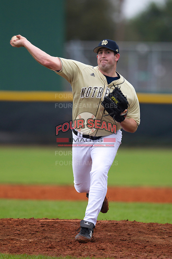 Notre Dame Fighting Irish pitcher Dan Slania #40 delivers a pitch during a game against the Illinois Fighting Illini at the Big Ten/Big East Challenge at Walter Fuller Complex on February 17, 2012 in St. Petersburg, Florida.  (Mike Janes/Four Seam Images)