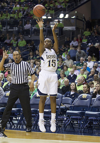 November 20, 2012:  Notre Dame guard Kaila Turner (15) goes up for a shot during NCAA Women's Basketball game action between the Notre Dame Fighting Irish and the Mercer Bears at Purcell Pavilion at the Joyce Center in South Bend, Indiana.  Notre Dame defeated Mercer 93-36.