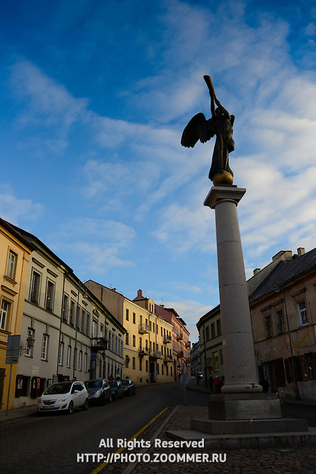 The Angel of Uzupis monument in artistic neighborhood of Vilnius, Lithuania