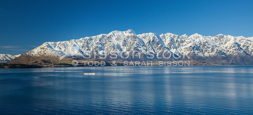 The Earnslaw, Lake Wakatipu and The Remarkables,winter, Queenstown, South Island, New Zealand - stock photo, canvas, fine art print