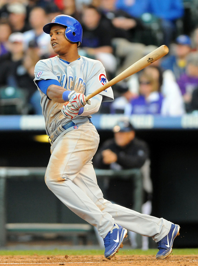 16 APRIL 2011: Chicago Cubs shortstop Starlin Castro (13) was 4/5 with a homerun and 3 RBIs  during a regular season game between the Chicago Cubs and the Colorado Rockies at Coors Field in Denver, Colorado. The Bubs beat the Rockies 8-3.   *****For Editorial Use Only*****