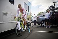 Maciej Bodnar (POL/Tinkoff-Saxo) warming up<br /> <br /> Elite Men TT<br /> UCI Road World Championships / Richmond 2015