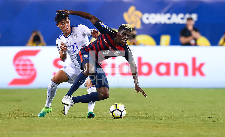 Philadelphia, PA - Wednesday July 19, 2017: Bryan Tamacas, Gyasi Zardes during a 2017 Gold Cup match between the men's national teams of the United States (USA) and El Salvador (SLV) at Lincoln Financial Field.