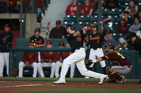 Corey Dempster (15) of the Southern California Trojans bats against the Arizona State Sun Devils at Dedeaux Field on March 24, 2017 in Los Angeles, California. Southern California defeated Arizona State, 5-4. (Larry Goren/Four Seam Images)