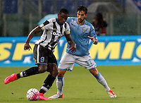 Calcio, Serie A: Lazio vs Udinese. Roma, stadio Olimpico, 13 settembre 2015.<br /> Udinese's Duvan Zapata, left, is challenged by Lazio&rsquo;s Danilo Cataldi during the Italian Serie A football match between Lazio and Udinese at Rome's Olympic stadium, 13 September 2015.<br /> UPDATE IMAGES PRESS/Isabella Bonotto