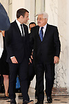 French President Emmanuel Macron greets Palestinian President Mahmoud Abbas prior to their meeting at the Elysee Palace in Paris, on July 5, 2017. Photo by Thaer Ganaim