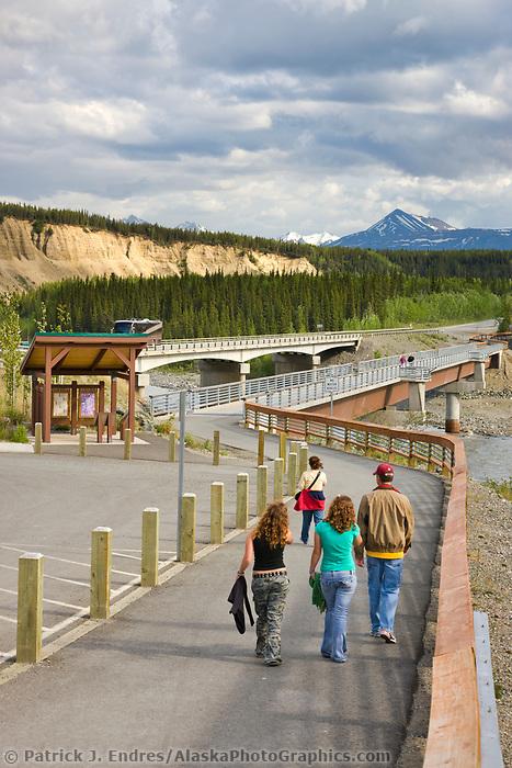 Pedestrian walkway and bridge over the Nenana river at the entrance to Denali National Park, Interior, Alaska.