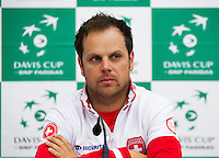 Swiss, Genève, September 14, 2015, Tennis,   Davis Cup, Swiss-Netherlands, press conference Swiss team , Captain Severin Luthi<br /> Photo: Tennisimages/Henk Koster
