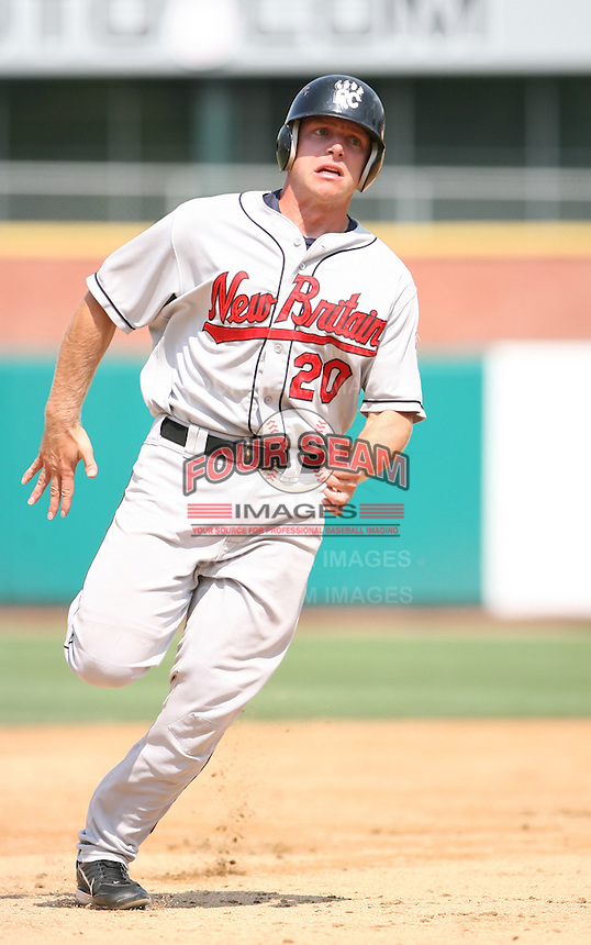 2007:  Luke Hughes of the New Britain Rock Cats, Class-AA affiliate of the Minnesota Twins, during the Eastern League baseball season.  Photo by Mike Janes/Four Seam Images