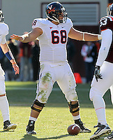 Nov 27, 2010; Charlottesville, VA, USA;  Virginia Cavaliers center Anthony Mihota (68) during the game at Lane Stadium. Virginia Tech won 37-7. Mandatory Credit: Andrew Shurtleff-
